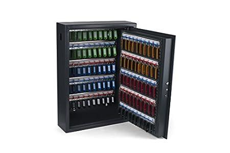 PAVO 8056019 Llaves/Armario/Caja Fuerte, AES con Seguridad eléctrica, 100 Ganchos Clave la Ranura Lateral, Gris Oscuro, Acero