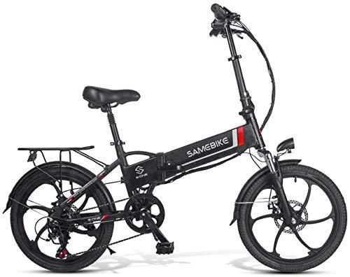 Ancheer SAMEBIKE Bicicleta Eléctrica Plegable, E Bike 20 Pulgadas con Batería de Litio 48V 10.4 Ah, Shimano 7 Speed Motor 350 W 30 km/h (Negro)