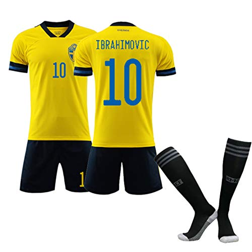 Fußball, Trikot für Erwachsene, Fußball-T-Shirt für Kinder, Europapokal 2020 Schweden 10# Forsberg 10# Ibrahimovic Fußballtrikot, Trainingslager für Fußballbekleidung-IB-XXL