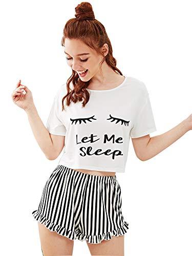 DIDK Damen Kurz Schlafanzug mit Slogan Pyjama Set Streifenhose Hausanzug Sommer Sleepwear Weiß L