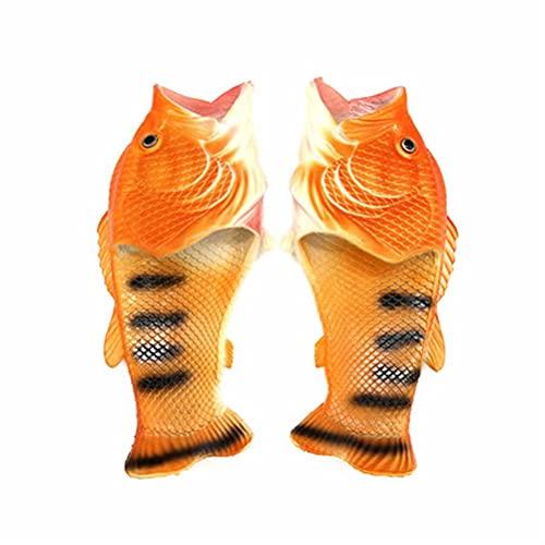 Pantofole di Pesce Uomo Forma di Pesce Creativo Scarpe da Spiaggia e Piscina da Donna Divertente Idea Regalo Pantofole Doccia Interna Oro 41/42