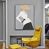 fdgdfgd Mujer Abstracta Cartel Moderno Lienzo geométrico Arte de la Pared impresión escandinava decoración del hogar