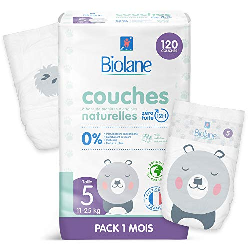 Biolane - Couches Éco-Responsables Taille 5 (11 - 25 Kg) - Zéro Fuite pendant 12h - Pack 1 Mois 120 Couches