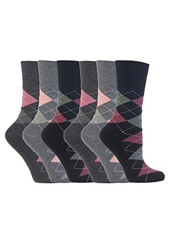 Gentle Grip 6 Paar Damen SockShop Cotton Socken Schuhgröße UK 4-8 EUR 37-42 schwarz grau Argyle RH39