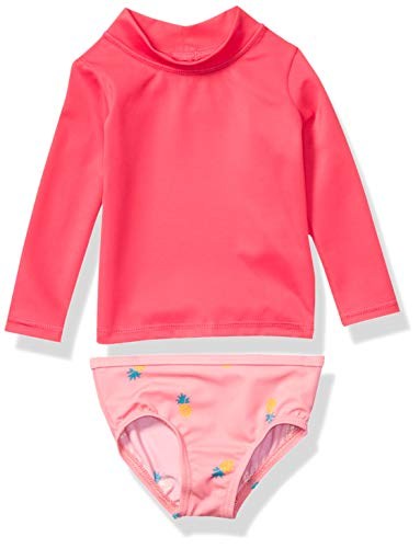 Amazon Essentials UPF 50+ Baby Girls 2-Piece Long-Sleeve Rash Guard Set, Pink Pineapple, 12M