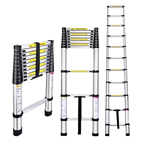 Gimify Telescoping Telescopic Extension Ladder 10.5 FT Aluminum Alloy Extendable Lightweight Ladder Steps Safety for Roofing Business, Household Use, RV Outdoor Work, 330 lbs Capacity