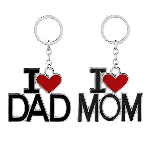 TENDYCOCO 2 UNIDS Mamá Papá Regalos Llaveros Llaveros para Cumpleaños Día de la Madre Regalos del Día del Padre