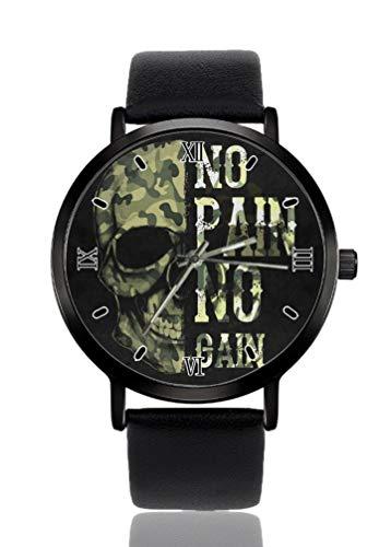 Cráneo Camo No Pain No Gain Reloj de pulsera de mujer ultra fino caso extremadamente simple analógico pulsera de mujer ultra fino reloj de cuarzo japonés movimiento