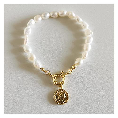 Pulsera 925 Pulseras de Plata de Ley 18k Pulseras de la Cadena de Perlas de Oro de 18k Retrato Colgante para niñas Mujeres Moda joyería Regalo de Oro de Lujo Pulsera de Amistad Zzib (Color : Gold)