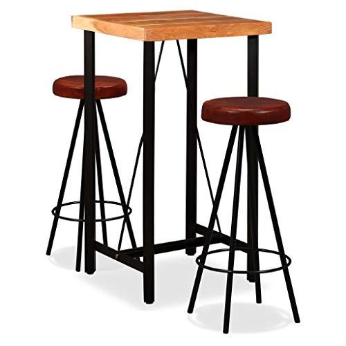Festnight Bar-Set 3-TLG. Bartisch mit Barhocker |1 Stehtisch & 2 Barhocker |Esstisch Sitzgruppe Sheesham-Holz Massiv und Echtleder