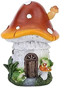 Esculturas de jardín – Lindas esculturas de jardín 1 Pieza Solar de Hongos casa de Resina al Aire Libre césped jardín decoración luz, Naranja