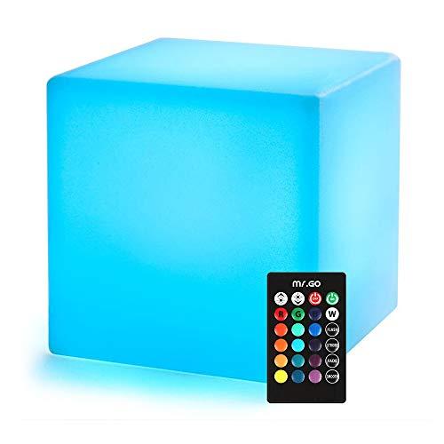 Mr.Go 8-inch Farbwechsel Würfel-Licht LED Stimmungslicht mit Fernbedienung, Dimmbar Nachtlicht Kind, Wiederaufladbare Batteriebetriebene Tischlampe für Schlafzimmer
