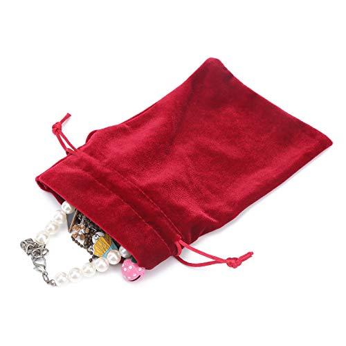 Bolsa de terciopelo Material de terciopelo Bolsa de tarot de terciopelo para naipes Monedas Accesorio Joyas(Red wine)