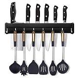 Barra con Colgador de Utensilios Cocina con 8 Ganchos Extraíbles Utensilios de Cocina del Soporte de la Pared con Empulgueras y Pegamento, Aluminio, 50cm/19.7in