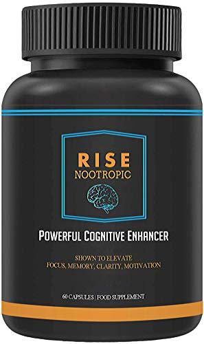 RISE Nootropic Memory Enhancement Supplements Bolster Focus & Recall – 60 Capsules, GMO Free, Easy-To-Swallow Pills for Men & Women – Vegetarian & Vegan Supplement Maximizes Brain Health by Bio-Hacker