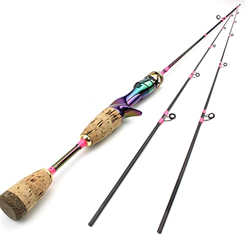 1.68m1.8m Colorful 2tips Solid Tip Trout Bait Fishing Rod, UL Power Ultra-Light Lure Rod 3-7g Carbon Spinning Cast Rod Bait Rod for Bass Fishing ZYHYD (Color : Casting Rod, Size : 1.8m)