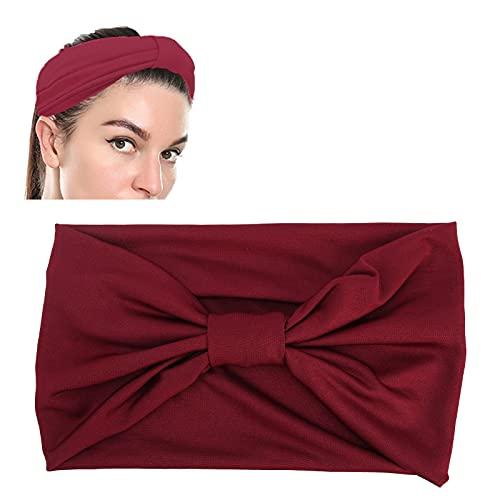 Diadema de yoga para mujeres, banda para el cabello con torsión cruzada de tela, nudo antideslizante, bandas deportivas elásticas para el sudor, accesorios para bandas(rojo)