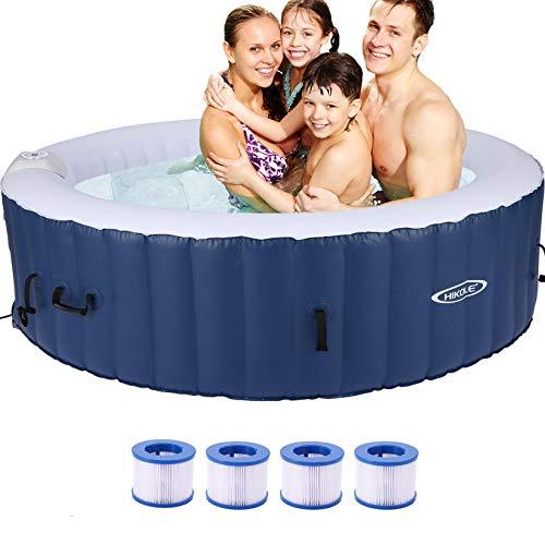 CROFULL Aufblasbarer Whirlpool für 4 Personen,SPA Pool Aufblasbar 180x180cm Indoor Outdoor Pool 120 Massagedüsen Timer Heizung Aufblasfunktion per Knopfdruck Bubble Spa Wellness Massage 800 Liter
