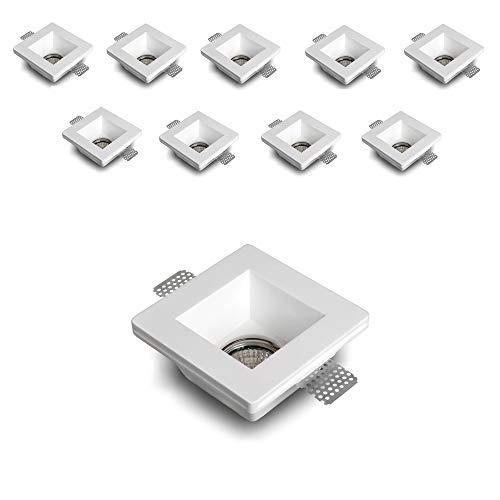 Eurekaled® - 10pz Portafaretto in Gesso CERAMICO da Incasso Quadrato per Controsoffitti per GU10 e MR16