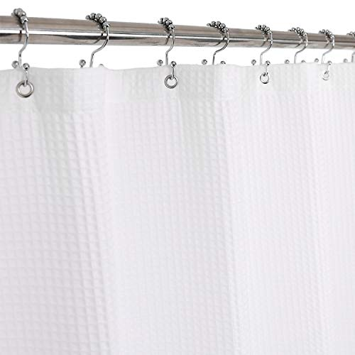 Fabric Shower Curtain Cotton Blend 96 Inch Extra Long, Honeycomb Waffle Weave, Hotel Luxury, Heavyweight, Spa, Washable, White, 72x96