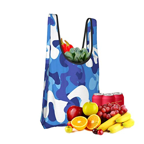 Mark Stars Blue Camouflage Fold Eco-Friendly Shopping Bags Large Capacity Daily Necessity