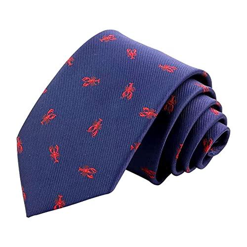 Corbata de cuello con estampado de langosta rojo náutico tejido azul marino clásico