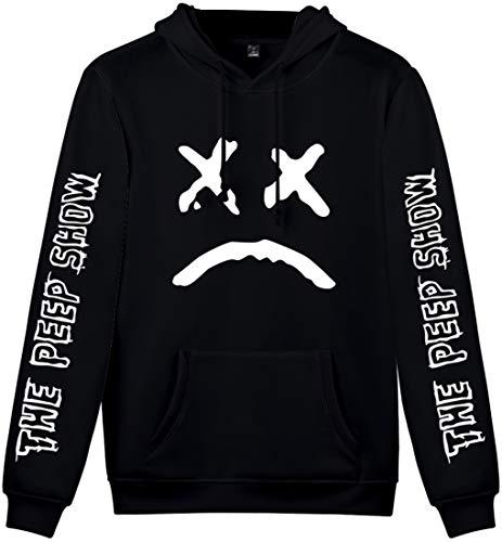 OLIPHEE R.I.P Rapper Unisex Felpa con Cappuccio Stampato Lovers Emo Rap Cool Pullover Uomo/Donna A-Nero X-Small