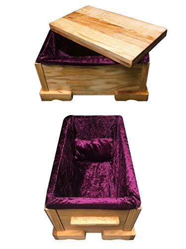 Comer Creations Premium Oak Wood Small Breed Pet Casket; Handcrafted w/Velvet Liner + Pillow - Coffin fits Small Dogs & Cats