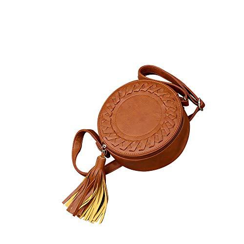 OIKAY Damen-Quastenpaket Tasche Rucksack Handtasche Schultertasche Umhängetasche Kleine runde Tasche der Super Fire-Nationalwind-Kette