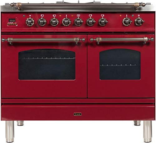Ilve UPDN100FDMPRBY Nostalgie Series 40 Inch Dual Fuel Convection Freestanding Range, 5 Sealed Brass Burners, 4 cu.ft. Total Oven Capacity in Burgundy, Bronze Trim (Natural Gas)