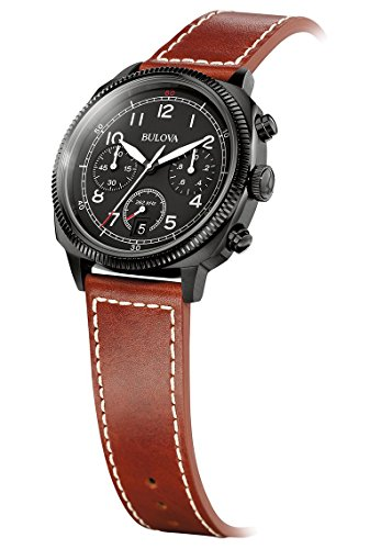 Bulova - 98B245 - Military - Montre Homme - Quartz Chronographe - Cadran Noir - Bracelet Cuir Marron