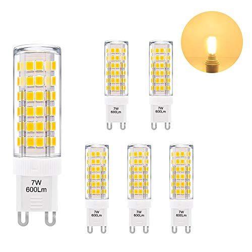 G9 LED Kleine Leuchtmittel Lampe 7W 600Lm Warmweiß 3000K 230V Ersetzt 60W G9 Halogenlampe Hohe Helligkeit 360° Beleuchtungswinkel 6er Pack von Enuotek