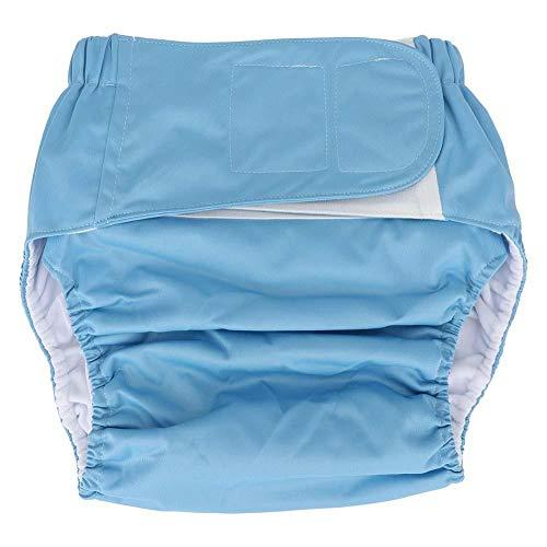 Anciano Pañal de tela, Impermeable Lavable Reutilizable Adulto Impermeable y Reutilizable Anciano Incontinencia Protección Pañales Ropa interior absorbente para hombres o mujeres(Azul)