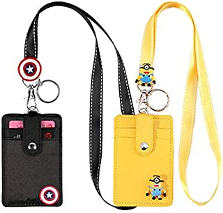 2Pack ID Badge Holder with Long Lanyard, Cute Cartoon Badge Holder with 3 Card Slots, PU Leather ID Badge Holder with Keychain for Students Teens Girls Women - Black & Yellow