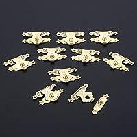 ZSKFS ホームバックルクラスプロック用10個入り24x17mmアンティーク真鍮木製ケースのHASPジュエリーギフトボックス装飾掛け金ラッチ