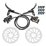 Lixada Hydraulisches Fahrrad-Scheibenbremsen-Kit 160mm Scheibenbremsscheibe Aluminium Vorder- und Hinterradsattel Scheibenbremse Fahrrad Edelstahlscheiben mit 12 Schrauben