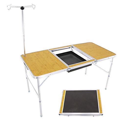 WANGY Mesa de Picnic Plegable al Aire Libre, Mesa Plegable de Parrilla de Aluminio portátil Multifuncional, Altura Ajustable, Adecuada para Barbacoa/Picnic/Mesa de Fiesta