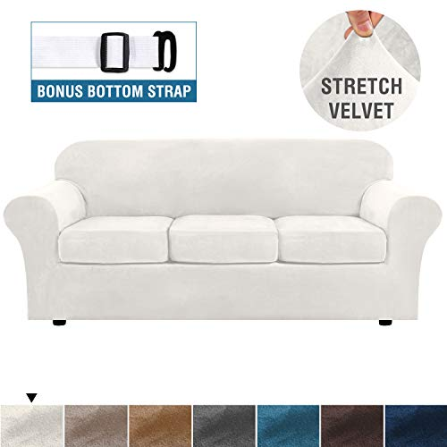 H.VERSAILTEX Modern Velvet Plush 4 Piece High Stretch Sofa Slipcover Strap Sofa Cover Furniture Protector Form Fit Luxury Thick Velvet Sofa Cover for 3 Cushion Couch, Machine Washable(Sofa,Ivory)