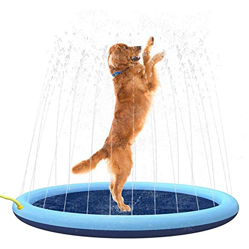 Splash Sprinkler Pad Für Hunde Und Kinder,Planschbecken Für Kinder,Hundepool, Hundebad Pool Verdickt, Badewanne, Haustier, Kinder-Pool,Sommer Outdoor Wasserspielzeug,40in/100cm