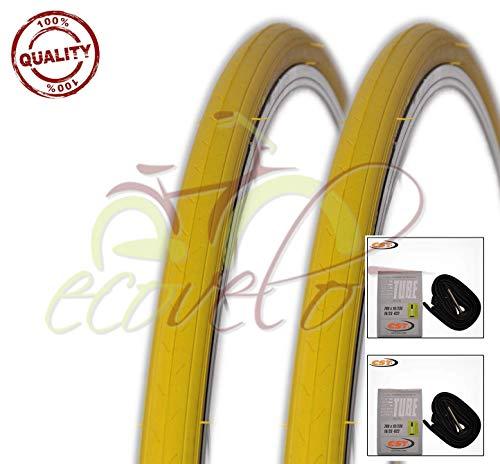 EBA28GRC Kit 2 Due COPERTONI + 2 Due CAMERE d'Aria Bici Ciclo Scatto Fisso Giallo 700 X 23 28 X 5/8 X 1/16 (23-622)