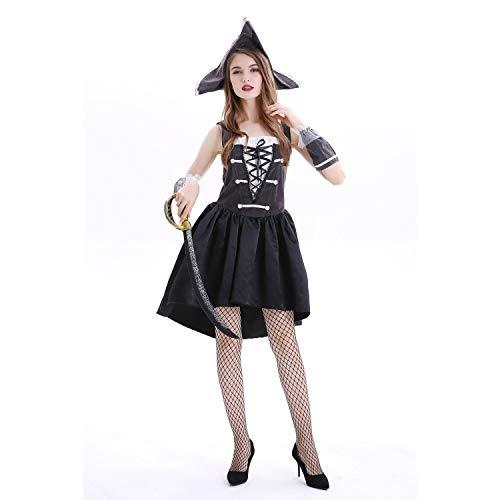 Disfraces piratas de Halloween para hombres y mujeres, juegos de rol para hombres y mujeres Robin Hood ciclops traje de escenario (pirata femenina,L)