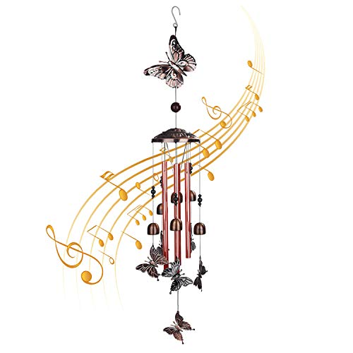 Butterfly Wind Chimes Outdoor Indoor Decor, Deep Tone Memorial Wind Chime,Smooth Melodic Tones Chime, for Outdoor Home Patio, Porch, Garden,Yard Decoration, Woman Gift(Butterfly)