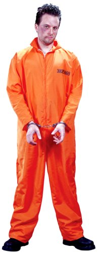 FunWorld Men's  Got Busted Penitentiary Costume, Orange, One Size Costume - coolthings.us
