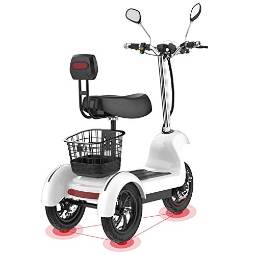 XYDDC Elektro-Dreirad-Roller - 3-Rad-Elektro-Scooter für Erwachsene/Ältere Freizeit Reisen Mobility Scooter, 500W, 12-Zoll-Rad,48v