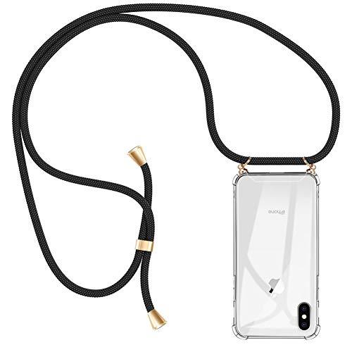 AODOOR Handykette kompatibel mit iPhone X/XS, Hülle iPhone X/iPhone XS Handyhülle mit Kordel Umhänge Band Silikon Schutzhülle mit Band, Handy-Kette Hülle mit Necklace Schnur für iPhone X/XS - 5,8