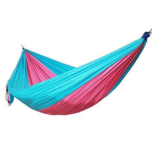 DaiHan Hamaca Colgante Capacidad de Carga Ultraligera Nylón de Paracaídas Portátil y Transpirable,Ideal para Viaje Jardín, Camping Azul Rosado S