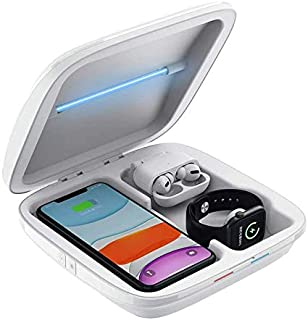 UV Phone Sanitizer Wireless Charger Cell Phone Cleaner UV Light Sterilizer Smartphone Charging Station Disinfection Box Wi...