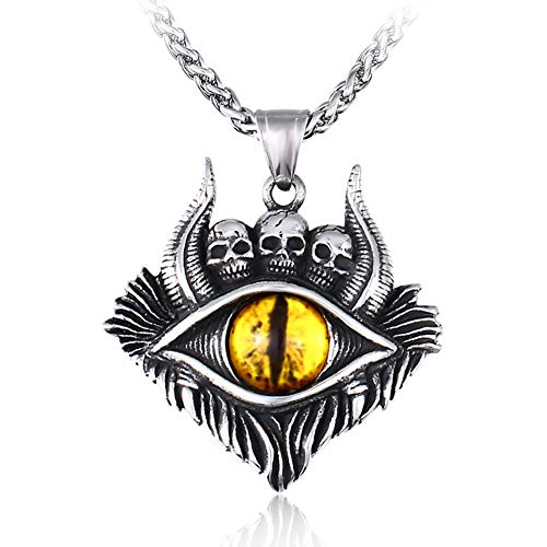 WTZWY Collar Colgante de los Ojos del Motorista gótico del cráneo de...