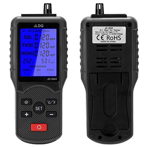 Monitor de calidad del aire Analizador KKmoon Medidor de CO2 Probador de calidad del aire multifuncional Medidor de TVOC Dispositivo de medición de temperatura y humedad