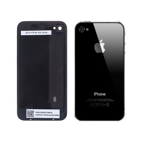 Fonz - Cover posteriore di ricambio in vetro per iPhone 4 (fornita con cacciavite Torx) (il motivo o l'immagine sulla parte posteriore è una pellicola protettiva che va rimossa prima dell'installazione), nero